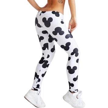 2018 New Summer Elasticity Leggings Cute Mickey Printed Leggings Women's Fitness Breathable Pants Sexy Slim Clothes