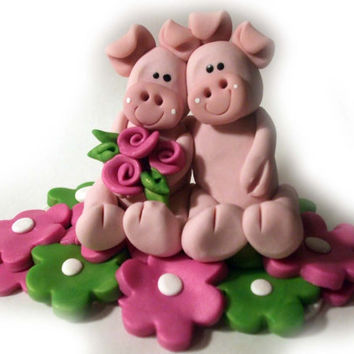 Pigs wedding cake topper polymer clay by DesignByGarrity on Etsy