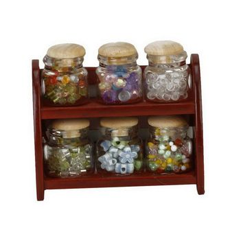 Glass Spice Pot Bottle Jars Rack 1/12 Dollhouse Miniature Doll House Kitchen Accessory