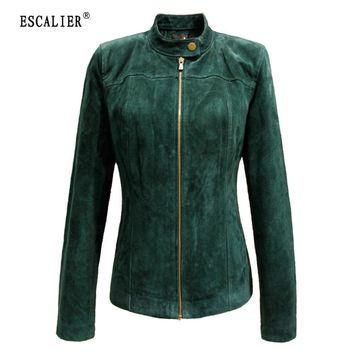 ESCALIER 2017 Winter Women's Genuine Leather Jackets Casual Plus Size Green Long Sleeve Women Basic Coats