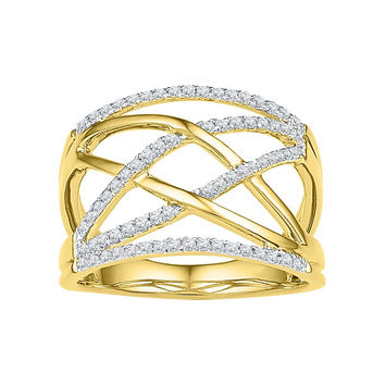 10kt Yellow Gold Womens Round Diamond Criss Cross Crossover Cocktail Ring 1/3 Cttw 108838