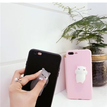 Fetile 3D Animal Phone Case For iPhone 7 Plus 6 6S Plus Soft Silicone Lazy Cat Claw Seal Bear Panda Back TPU Cover Bag