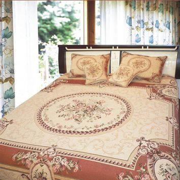 Orange & Beige Spices Elegant Victorian Floral Medallion Soft Chenille Woven Tapestry Coverlet Bedspread Set