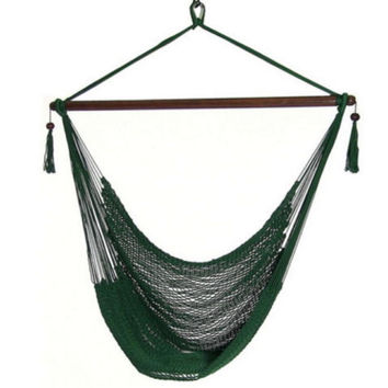 Caribbean Extra Large Green Hanging Hammock Swing Chair Indoor or Outdoor Use