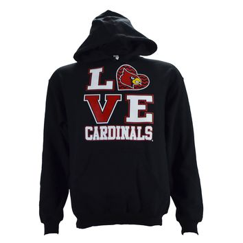 University of Louisville UL LOVE on a Black Hoodie