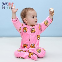 HHTU New 2017 Autumn Winter Baby Rompers Clothes Long Sleeved Coveralls for Newborns Boy Girl Polar Fleece Baby Clothing Soft