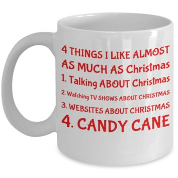Christmas Lover Mug - Xmas Gift For Her, Him, Mom, Dad, Grandma, Sister, Grandparents - 11oz White Ceramic Cup with Inspiration for Hot Cocoa, Coffee, Tea, Candy Cane & Cookies!