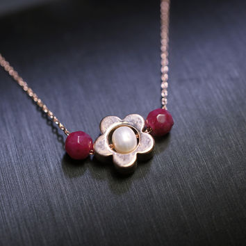 Rose Gold Flower Necklace - Tiny Ruby Necklace - Rose Gold Choker - Gold Flower