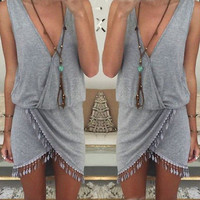 Tasseled BOHO Beach Dress