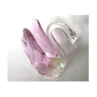 Vintage glass swan figurine ,clear and pink glass