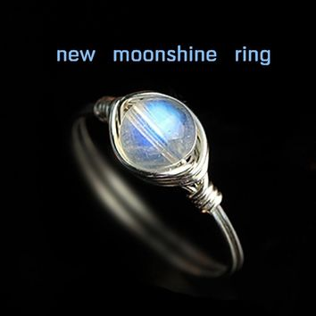 Handmade 925 Sterling Women Silver ICY Natural Moonstone Moonshine Ring