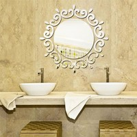Round Mirror Floral Wall Stickers Removable Art Decal Mural Home Bathroom Decor