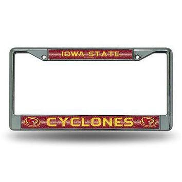 Iowa State Cyclones NCAA Glitter Bling Chrome License Plate Frame Car Truck Wall