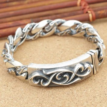 925 Sterling Silver Personalized Jewelry Ancient Thai Silver men's Ancient Pattern Bracelet Trend New Silver Bracelet