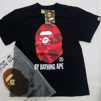 cc DCCK3 A Bathing Ape Big Head Ape Black Shirt Red Camo