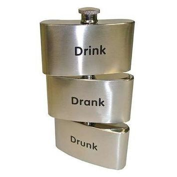 Visol Tenses DRINK DRANK DRUNK Printed Three-In-One Flask Tower 3 3ozs 9 oz Cap.
