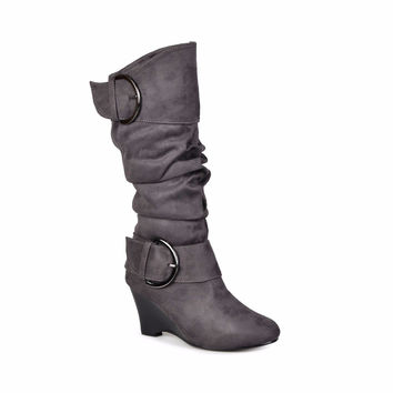 Journee Collection Women Tall Slouch Wedge Knee-High Boots, 10, Gray