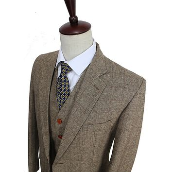 Retro Gentleman Style Brown Check Tweed Custom Made Slim Fit Men 3 Piece Suits Tailor Wedding Suits For Men