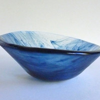 Fused Glass Slanted Bowl in Streaky Adventurine Blue