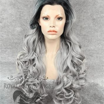 """26"""" Heat Safe Synthetic Lace Front in Curly Texture """"Calypso"""" in Rooted Gray/Silver"""