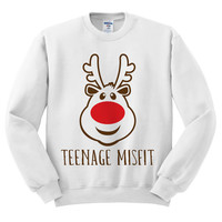 White Crewneck Teenage Misfit Reindeer Ugly Christmas Sweatshirt Sweater Jumper Pullover