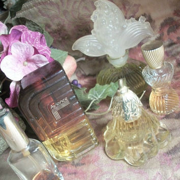 Vintage Cologne Fragrance Bottles Five Collectible Glass Boudoir Home Decor Perfume  Avon  Revlon Charlie Aviance Prince Machabeilli
