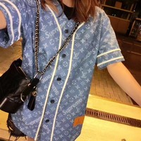 """Louis Vutitton LV×Supreme"" Fashion Casual Logo Letter Print Stripe V-Neck Short Sleeve Cardigan Tops Denim Mini Dress"