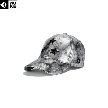 Trendy Winter Jacket WUKE Silver PU Leather Snapback Hat Spring Outdoor Hats For Men Sports Cap Embroidered Adjustable Women's Baseball Cap AT_92_12
