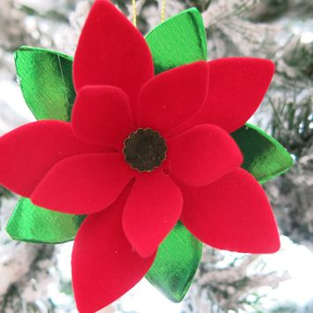 Velvet Poinsettia Christmas Tree Ornament, Red Paper Flower Holiday Decoration, Old Fashioned Xmas
