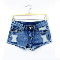 Summer Women Shorts Denim Female Solid Blue Short Jeans Hole Women Shorts