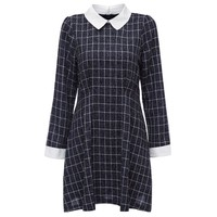 Preppy Style Peter Pan Collar Long Sleeve Plaid Print A-Line Women's Mini Dress