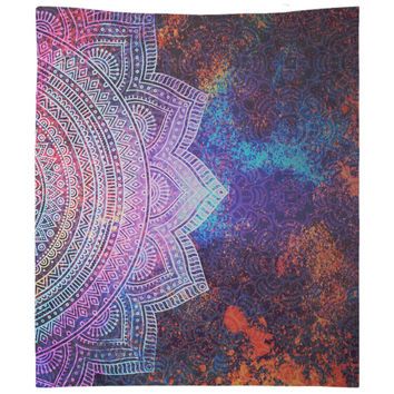 Trippy Mandala Tapestry Purple Distressed Tapestry Wall Hanging Meditation Yoga Grunge Hippie