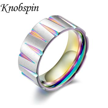 Punk Rock Black/Gold Colorful Brushed Men's Ring Titanium Steel Tapered Pattern Finger Ring Biker Jewelry Gifts anel masculino