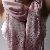 Pink Elegance Shawl / Scarf with Lacy Edge by womann on Etsy