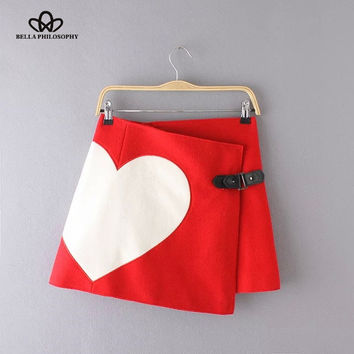 2015 autumn winter new love heart print woolen women red black asymmetrical wrap skirt with leather buttons