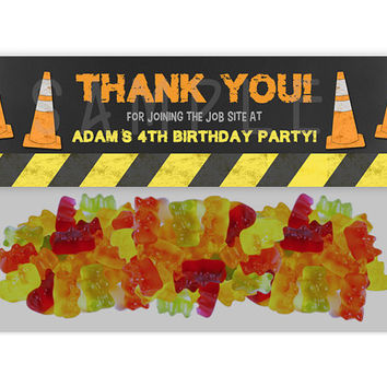 Dump Truck Chalk Construction Birthday Bag Toppers - Construction Party Favor Goody Bags - Boy Birthday Treats - Favor Ideas - Candy Buffet