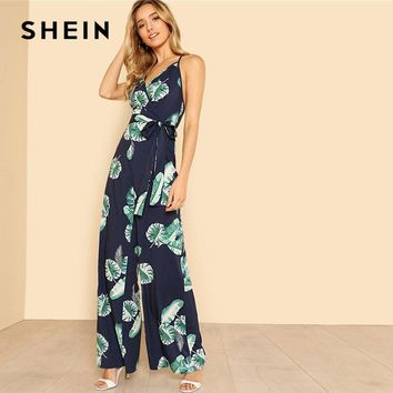 SHEIN Tropical Print Wide Leg Cami Jumpsuit 2018 Women V Neck Spaghetti Strap Sleeveless High Waist Belted Vacation Jumpsuit