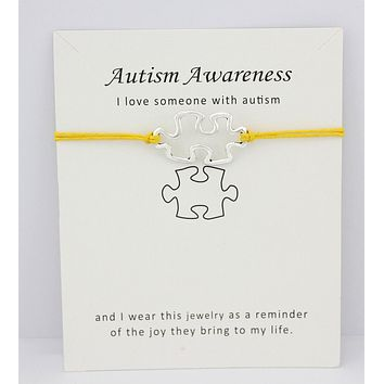 Autism Awareness Puzzle Hope Faith Love Charm Card Bracelets Gray Brown Blue Wax Cords Women Men Girl Jewelry Christmas Gift