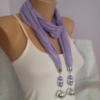 Lilac Scarf - Jersey Jeweled Scarf - Long Scarf Wrap - Bohemian Fashion Accessories