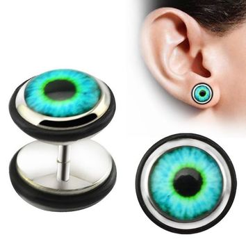 1 Pair Evil Eye Stud Earrings Punk Ear Stud Piercing Earrings Stainless Steel Ear Stud Men Body Jewelry orecchini donna