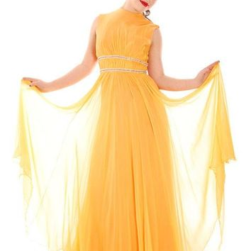 Vintage Yellow Silk Chiffon Maxi Evening Gown Modern Couture 1970s Small