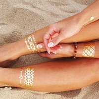 Metallic Tattoos: Greek Bracelets and Wings