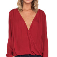 Velvet by Graham & Spencer Joon Rayon Challis Top in Red