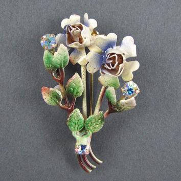 Blue Roses - Vintage 1950s Flower Bouquet Brooch on Original Card, Rhinestone & Enamel, Made in Austria, Aurora Borealis Stones, NOS