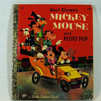 "Little Golden Book ""Walt Disney's Mickey Mouse and Pluto Pup"" Vintage Children's Book"