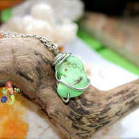 Green Stone Necklace made in Hawaii, wire wrapped ROCK CANDY Hawaiian jewelry by Mermaid Tears