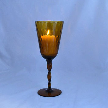 Amber Candle Holder Art Glass - Optic - Twisted Stem - Mid Century Empoli Italy 11 1/2 inches Tall!