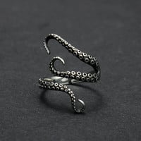 Titanium steel Gothic Deep sea squid Octopus finger ring