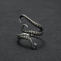 Goth Titanium Octopus Ring