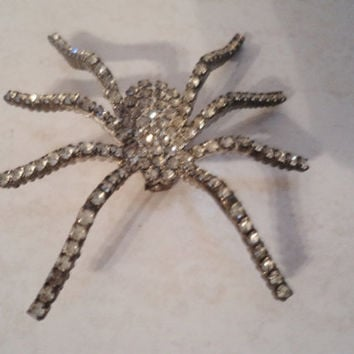 Rhinestone Spider Brooch Pin